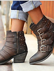cheap -Women's Boots Low Heel Round Toe PU Booties / Ankle Boots Winter Light Brown / Dark Brown