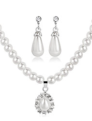 cheap -Women's White Cubic Zirconia Bridal Jewelry Sets Beads Drop Fashion Imitation Pearl Earrings Jewelry White For Party Festival 1 set