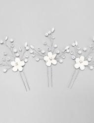cheap -Crystal / Rhinestone / Fabrics Hair Pin with Imitation Pearl / Crystal / Rhinestone / Flower 3 Pieces Wedding Headpiece