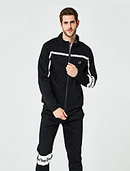 cheap -Men's 2-Piece Tracksuit Sweatsuit Casual Long Sleeve Front Zipper Thermal / Warm Windproof Soft Running Fitness Jogging Sportswear Sweatshirt and Pants Athleisure Wear White Black Gray Activewear
