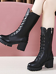 cheap -Women's Boots Chunky Heel Round Toe Rivet PU Mid-Calf Boots Vintage / Casual Spring &  Fall / Fall & Winter Black