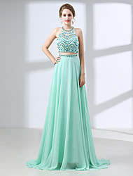 cheap -A-Line Halter Neck Sweep / Brush Train Chiffon Open Back Prom / Formal Evening Dress with Beading / Crystals 2020