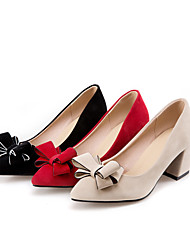 cheap -Women's Heels Chunky Heel Pointed Toe Bowknot Suede Classic Spring &  Fall Black / Red / Beige / Wedding / Party & Evening