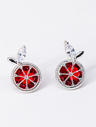cheap -Women's Clear AAA Cubic Zirconia Stud Earrings 3D Cherry Fashion S925 Sterling Silver Earrings Jewelry Silver For Christmas Wedding Party Gift 1 Pair