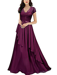 cheap -A-Line Elegant Purple Wedding Guest Formal Evening Dress Scalloped Neckline Short Sleeve Floor Length Polyester with Draping Tier Lace Insert 2020