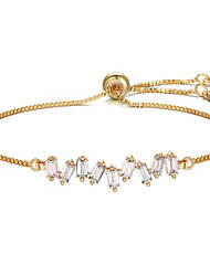 cheap -Women's Cubic Zirconia Chain Bracelet Geometrical Flower Stylish Gold Plated Bracelet Jewelry Black / Rose Gold / White For Gift Daily