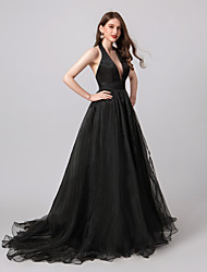 cheap -A-Line Halter Neck Sweep / Brush Train Organza Open Back Prom / Formal Evening Dress with Split Front / Pleats 2020