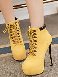 cheap -Women's Boots Stiletto Heel Round Toe PU Booties / Ankle Boots Winter Black / Yellow / Green