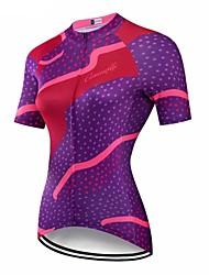 abordables -CAWANFLY Femme Manches Courtes Maillot Velo Cyclisme Noir Géométrique Cyclisme Maillot Hauts / Top VTT Vélo tout terrain Vélo Route Respirable Séchage rapide Poche arrière Des sports Térylène
