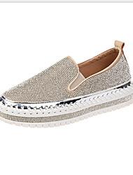 cheap -Women's Flats Flat Heel Round Toe PU Fall & Winter Black / Silver