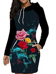 cheap -Women's Mini Shift Dress - Long Sleeve Letter Elegant Black Blue Blushing Pink S M L XL