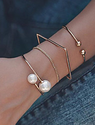 cheap -4pcs Women's Bracelet Bangles Cuff Bracelet Vintage Bracelet Layered Lucky Classic Vintage Trendy Fashion Boho Imitation Pearl Bracelet Jewelry Gold For Daily Street Holiday Club Festival