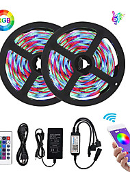 cheap -Bluetooth LED Strip Lights 2835 10M (2 x 5M) 600 LEDs Smart-Phone Controlled Waterproof RGB for Home&Outdoor Decoration 12V 6A Adapter