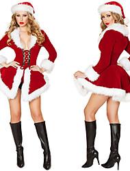cheap -Santa Claus Dress Women's Adults' Costume Party Christmas Christmas Velvet Dress / Hat / Hat