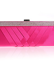 cheap -Women's Crystals / Hollow-out Polyester / Silk Evening Bag Striped Fuchsia