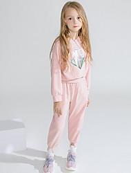 billige -Baby Jente Grunnleggende Trykt mønster Langermet Tøysett Rosa