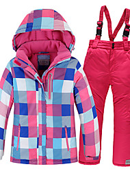 cheap -Boys' Girls' Ski Jacket with Pants Camping / Hiking Winter Sports Thermal / Warm Waterproof Windproof Cotton POLY Clothing Suit Ski Wear