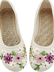 cheap -Women's Loafers & Slip-Ons Flat Heel Round Toe Canvas Spring White / Blue / Beige