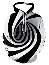 cheap -Men's Hoodie Striped Geometric 3D Hooded Casual Basic Hoodies Sweatshirts  White