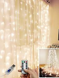 abordables -3 * 1 3 * 2 3 * 3m usb led rideau de guirlande lumineuse flash guirlande féerique télécommande pour le nouvel an noël en plein air mariage décor à la maison