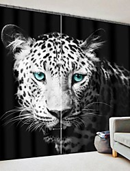 cheap -Blue Eye Leopard Digital Printing 3D Curtain Blackout Curtain High Precision Black Silk Fabric High Quality Curtain