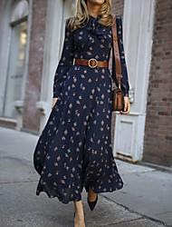 cheap -Women's Elegant A Line Dress - Maxi Floral Navy Blue S M L XL