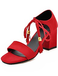 cheap -Women's Sandals Chunky Heel Open Toe Tassel Suede Preppy / Minimalism Summer Black / Almond / Red / Party & Evening