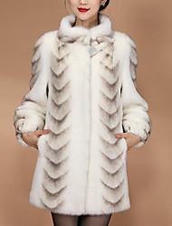 abordables -Manches Longues Fourrure de renard Fête / Soirée / Bureau / Carrière Etoles de Femme / Foulards pour Femme Avec Imprimé léopard / Bouton / Fourrure Manteaux / Vestes / Basique