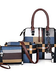 cheap -Women's Embossed Canvas / PU Bag Set Geometric Pattern 4 Pieces Purse Set Black / Blue / Red