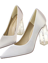 cheap -Women's Wedding Shoes Crystal Heel Pointed Toe Satin / Synthetics Minimalism Fall / Spring & Summer Black / Wine / White / Party & Evening