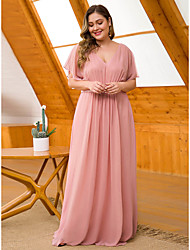 cheap -A-Line V Neck Floor Length Chiffon See Through Formal Evening Dress with Sash / Ribbon / Pleats 2020