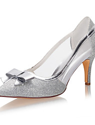 cheap -Women's Wedding Shoes Stiletto Heel Pointed Toe Bowknot / Sequin Synthetics Spring &  Fall / Summer Silver / Party & Evening