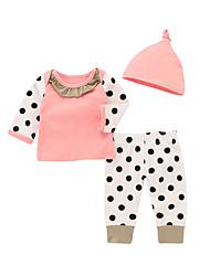 cheap -Baby Girls' Casual Active Polka Dot Solid Colored Print Long Sleeve Long Clothing Set Blushing Pink