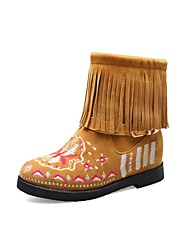 cheap -Women's Boots Low Heel Round Toe Buckle / Tassel Faux Leather Booties / Ankle Boots Casual / Sweet Walking Shoes Spring / Fall & Winter Black / Wine / Yellow