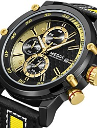 cheap -MEGIR Men's Dress Watch Quartz Formal Style Stylish Leather Black / Yellow 30 m Calendar / date / day Analog Luxury Fashion - Golden Golden+Black One Year Battery Life