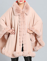 cheap -Sleeveless Coats / Jackets / Capes Wool Fabric / Fox Fur Wedding / Party / Evening Women's Wrap / Women's Scarves With Fur