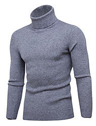 cheap -Men's Solid Colored Long Sleeve Slim Pullover Sweater Jumper, Turtleneck Black / Wine / Light gray XL / XXL