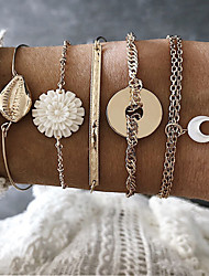 cheap -5pcs Women's Bracelet Bangles Vintage Bracelet Earrings / Bracelet Layered Moon Flower Shape Vintage Trendy Ethnic Fashion Boho Alloy Bracelet Jewelry Gold For Daily Street Holiday Club Festival