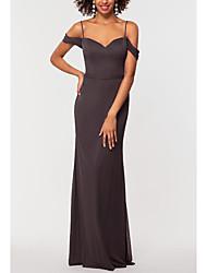 cheap -Sheath / Column Elegant Prom Dress Sweetheart Neckline Short Sleeve Floor Length Chiffon with Pleats 2020