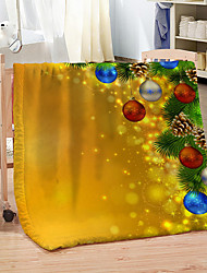 cheap -Golden Pretty Christmas Flannel Fleece Blanket Coral Fleece Warm Throw Blankets for Winter