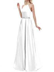 cheap -A-Line Elegant Prom Formal Evening Dress Halter Neck Sleeveless Floor Length Polyester with Beading 2020