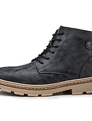 cheap -Men's Leather Shoes Leather / Cowhide Fall & Winter Casual Boots Walking Shoes Warm Booties / Ankle Boots Black / Dark Brown / Beige
