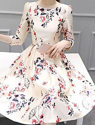 cheap -Women's Elegant A Line Dress - Floral Print White S M L XL