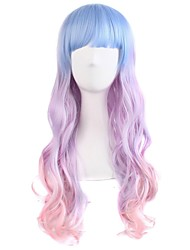 cheap -Synthetic Wig Curly Body Wave Halloween Asymmetrical Neat Bang Wig Pink Long Ombre Pink Synthetic Hair 24 inch Women's Color Gradient Best Quality Pink