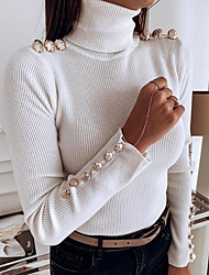 cheap -Women's Solid Colored Long Sleeve Pullover Sweater Jumper, Turtleneck Black / White S / M / L