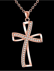 cheap -Women's White Cubic Zirconia Pendant Necklace Geometrical Cross Fashion Gold Plated Chrome Rose Gold Gold 45 cm Necklace Jewelry 1pc For Gift Daily