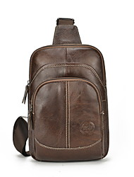 cheap -Men's Zipper Cowhide Sling Shoulder Bag Solid Color Brown / Black