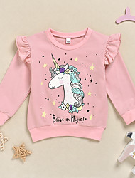 cheap -Kids Girls' Active Basic Unicorn Animal Print Long Sleeve Hoodie & Sweatshirt Blushing Pink