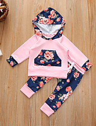 cheap -Baby Girls' Casual / Active Floral / Print / Patchwork Print Long Sleeve Long Clothing Set Blushing Pink