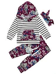 preiswerte -Baby Mädchen Freizeit / Aktiv Gestreift / Blumen Druck Langarm Lang Kleidungs Set Purpur